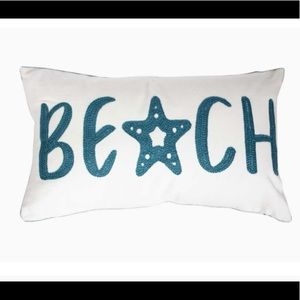Embroidered Beach Throw Pillow Cover, Star fish